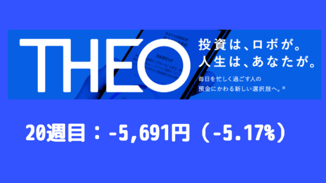 theo_result - THEO(テオ)20週目の運用実績は-5,691円(-5.17%)