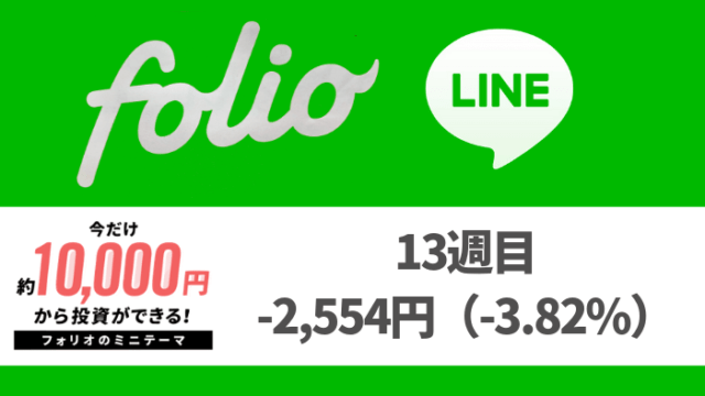folio_result - FOLIO(フォリオ)・LINEスマート投資13週目は-2,554円(-3.82%)